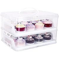 2 Etagen Kuchentransportbehälter 24 Cupcakes Behälter Tragbarer Transportbox für Kuchen, Cookies, Torten