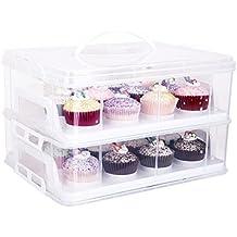 Contenitore per cupcake a 2piani, chiusura a scatto regolabile e piani impilabili, colore bianco