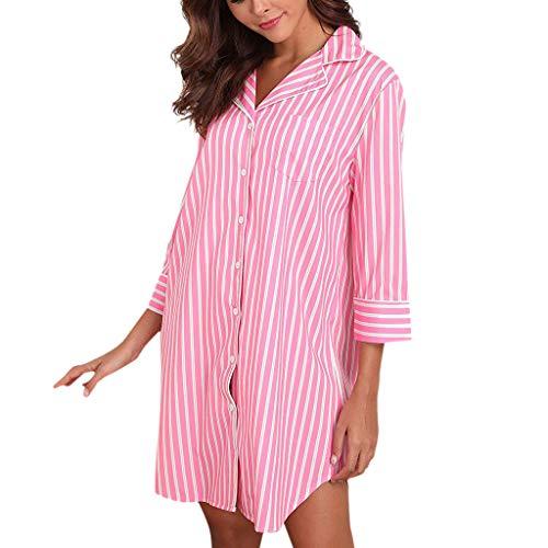 uen Boyfriend Schlaf Shirt Dress Striped Button Down Baumwolle Nachthemd Three Viertel Sleeve Home Pyjamas Kurze Gerade Bluse NachtwäSche ()