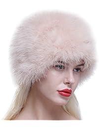 Sombrero/Gorro de piel caliente de invierno de avestruz real,ligero,elegante,cálido