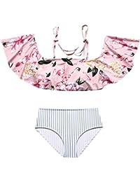 d3d6a37deabe FRAUIT Completo Bikini per Mamma e Figlia Costumi da Bagno Bambina Due  Pezzi Fiori Costumi da Bagno Donna Due Pezzi Brasiliana Sexy Bikini…