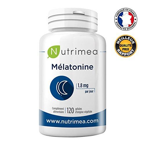 MELATONINE PURE NUTRIMEA  1,8 mg/jour – 120 gélules végétales de 0.9 mg – Favorise l'endormissement et limite les effets du décalage horaire - FABRICATION FRANCAISE - SATISFAIT OU REMBOURSE