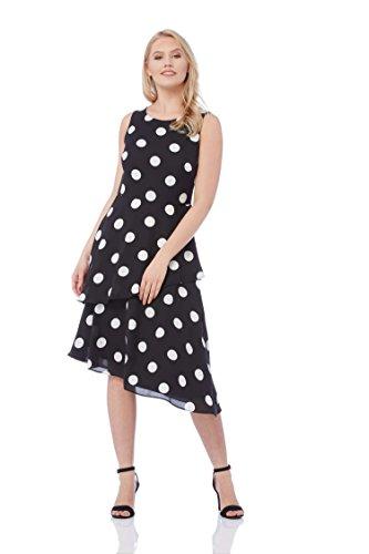 Roman Originals Damen Skater-Kleid mit Pünktchenmuster in Schwarz - Schwarz - Größe 38