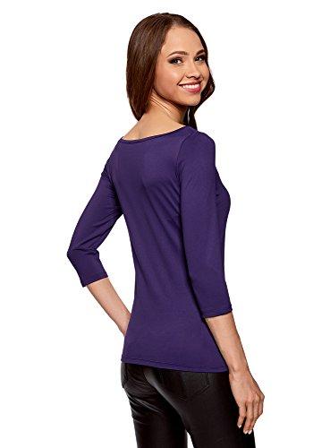 oodji Collection Damen T-Shirt Basic mit 3/4-Ärmeln Violett (8800N)