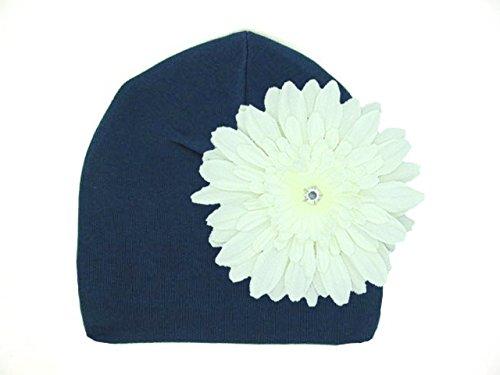 Ch Daisy (Jamie Rae Hats Navy Blue Daisy Hats Cotton Hats with White Daisy)