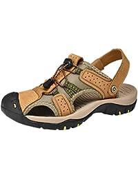 Sandalias de Baotou Color sólido de los Hombres de Verano, Zapatillas de Playa Transpirables para