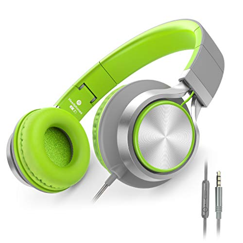 Ailihen C8 Kopfhörer leicht faltbar mit Mikrofon Lautstärkeregelung Musik Headsets 3,5mm für Smartphones PC Laptop Mac MP3 Tablet (Grau Grün)