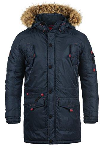 SOLID Betto Herren Parka Winterjacke mit Kapuze und abnehmbarem Fellkragen aus hochwertiger Materialqualität, Größe:M, Farbe:Insignia Blue (1991)