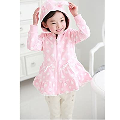 Calli Baby Children Girls Zipper Rabbit Hooded Coat Dot Cardigan Jacket