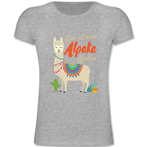 Karneval & Fasching Kinder - Das ist Mein Alpaka Kostüm - 164 (14-15 Jahre) - Grau meliert - F131K - Mädchen Kinder T-Shirt (Gruppe Kostüme Für Teenager-mädchen)