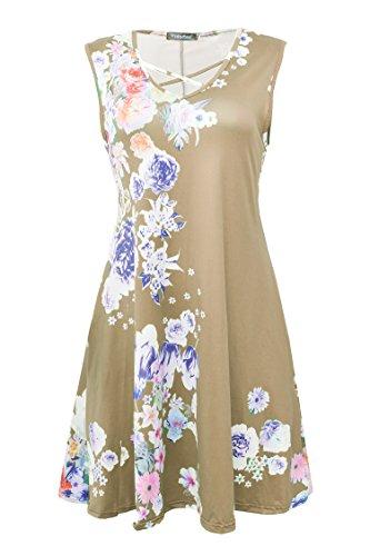 Yidarton Donna Estate Vestito Scollo a V Stampa Knielang Senza Maniche Beach Dress Sciolto Vestito Abito Da Sera Beige