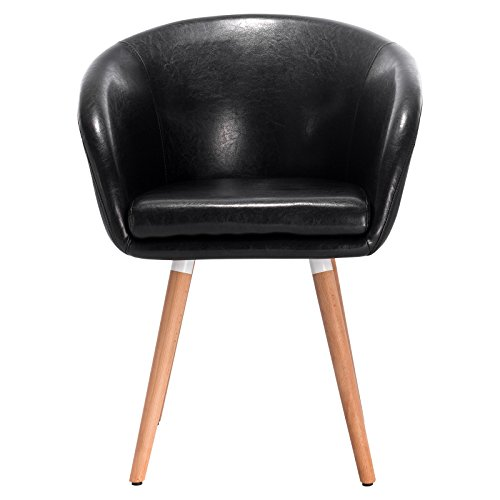 Woltu BH73sz-1 Dining Room Chair/Kitchen Chair/Living Room Chair/Retro Chair with Arm and Backrest/Thick Faux Leather Padding/Solid Wood/Black