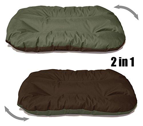 BedDog 2in1 Hundebett REX / Wende-Hunde-Kissen oval-rund / großes Hundekörbchen / waschbares Hundebett / Hundesofa für drinnen & draußen / XXXL / MYSTIC / grün-braun