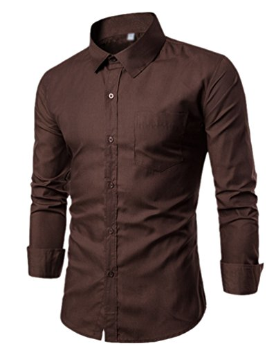 Chengyang uomo slim fit camicia manica lunga casual camicie camicetta business tinta unita shirts (marrone#2, l)