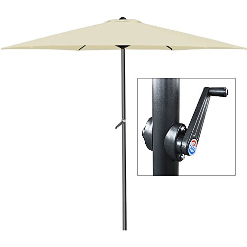 Parasol beige - Ø 300cm - Avec manivelle - Jardin - Terrasse