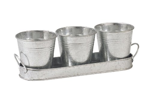 set-of-three-3-metal-garden-herb-plant-flower-pots-on-galvanized-zinc-tray