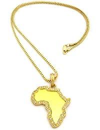 Patriotique collier de ton or à pendentif du continent africain de style miroir, avec pierres de Strass, chaîne cubique l.2 mm L.61 cm