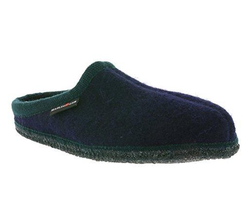 Haflinger Pantofole Lana Alaska Blu/Verde Scuro, blu (BLAU), 36 EU