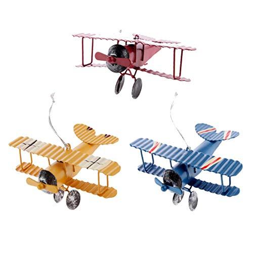 Myriad Choices 3Pcs Modèle d'avion Biplan en Métal Vintage Enfants Jouets