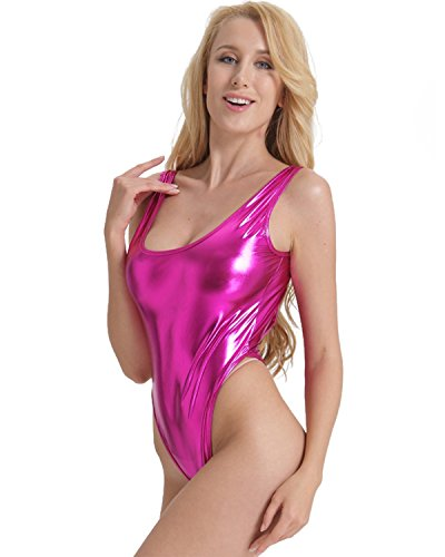 Womens Shiny High Cut Thong Leotard Bodysuit - Many Colours