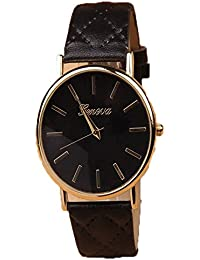 iSweven Simple retro HOT newest pu leather GENEVA / Geneva female watches Analogue Black Unisex Wrist Watch W1005a