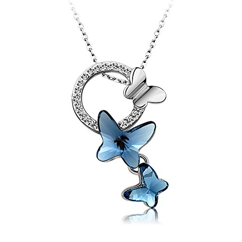 Yellow Chimes Crystals from Swarovski Blue Butterfly Designer Crystal Pendant for Women...