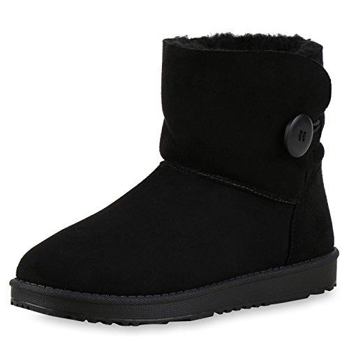 napoli-fashion Bequeme & Warm Gefütterte Damen Schuhe Stiefel Schlupfstiefel Jennika Schwarz New