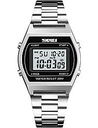 LONGQI - Reloj de pulsera digital con pantalla rectangular LED para hombre, con correa de