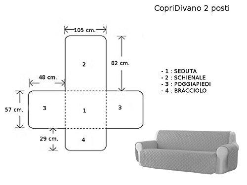 Biancheria&Casa Copripoltrona Copridivano 2 3 e 4 posti Trapuntato Antimacchia Relax Tinta Unita : Colore - Bordeaux, Prodotto - Copridivano 2 posti