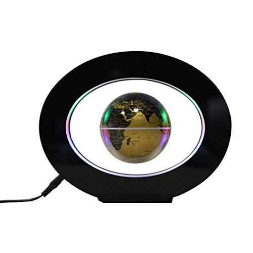 B&H-ERX Oval Shape Magnetic Floating Globe, mit LED-Licht schwimmende Magnetstufen Globe für die Dekoration im Büro und Heim für Kinder Geschenk,Gold