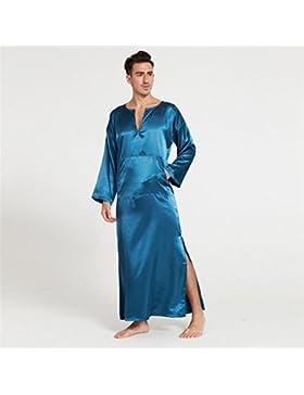 Bearony Cozy - Albornoz para Hombre, Manga Larga, diseño de Pijama Azul Azul