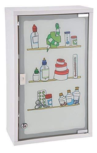 Spetebo Metall Medizinschrank in weiß mit Milchglas und Buntem Aufdruck - Arzneischrank abschließbar in schöner Optik -