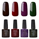 Elite99 UV LED nagellack gel shellac set nail polish set soak off gel Geschenk weinrot,4xStück 10ML