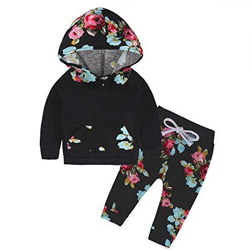 Sunday Baby Kleidung Mädchen Kleinkind Blumen Hoodie Oberseiten Hosen Outfits Set 2pcs Baby Kleidung Set Mädchen Kleidung Outfits 6-24 Monate (6-12M, Schwarz)