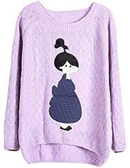 Molly Mujeres Camiseta De Manga Larga Bordado De Punto Flojo Suéter Pullover