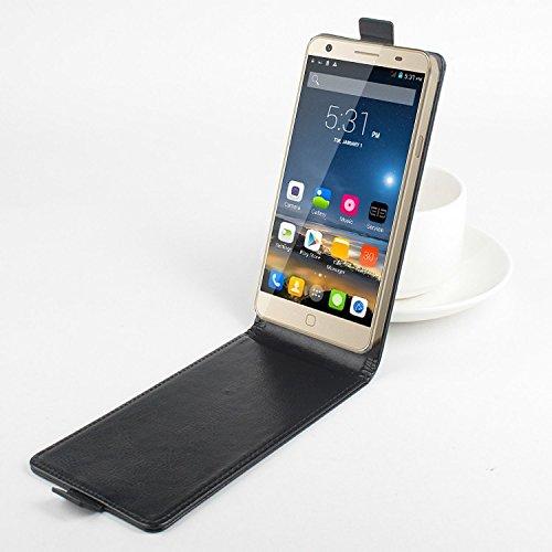 Baiwei Pu Leder Kunstleder Flip Cover Tasche Handyhülle Case für Elephone P7000 4G Smartphone Tasche Hülle Case Handytasche Handyhülle Etui (Schwarz)