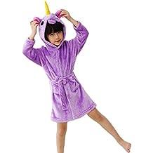 Woneart Niños Niña Albornoz Infantiles Camisones Novedad Disfraz de Peluche Unicornio Ropa De Dormir con Capucha