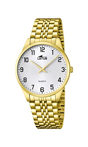 Lotus Men's Quartz Watch with White Dial Analogue Display and Gold Stainless Steel Plated Bracelet 15885/1