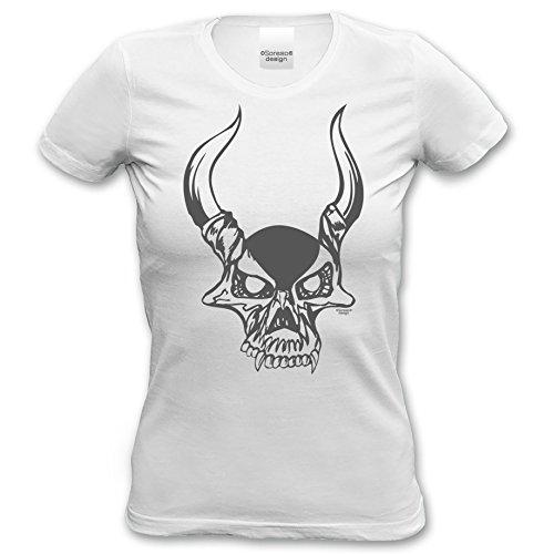Damen-Mädchen-Halloween-Kostüm-Girlie-Fun-T-Shirt Gruselig witziges Shirt für Frauen Skull Geister Gespenster Kürbis Outfit Geschenk Idee Farbe: weiss Weiß