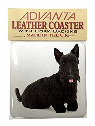 Scottish Terrier Leather Coaster Christmas Gift, Ref:AD-ST2SC
