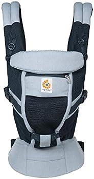 Ergobaby Adapt Bärväska för nyfödda från födseln, Cool Air Mesh 3-positioner baby magdräkt ryggstöd, kambray,