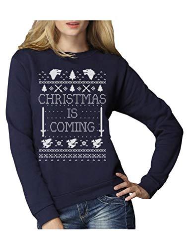 Christmas is Coming - Weihnachtspullover Damen für GOT Fans Frauen Sweatshirt Medium Marineblau