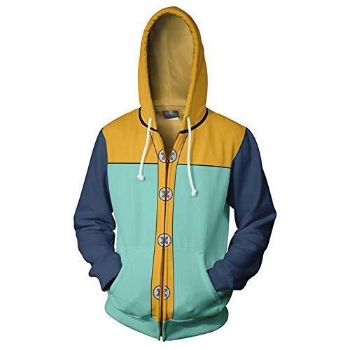 IDEALcos Sieben Todsünden Spiel Cosplay Hoodie Sweatshirt Kostüm Halloween Cosplay Zipper/Pullover Jacke (3XL, Aquamarin 2)
