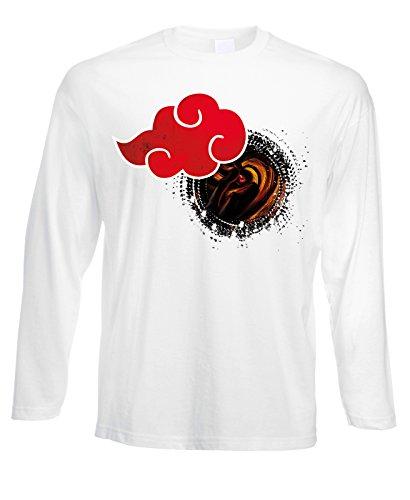 Tshirt a maniche lunghe Akatsuki -Obito Tobi- Naruto- cartoon cartoni - in cotone by Fashwork Bianco