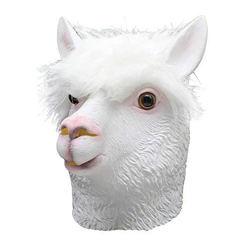 Kostüm Party Weiblich Animal - HorrorMask Maske-Halloween Kostüm Party Latex Alpaka Animal Maske Schaf Kopf Weihnachts Tier Maske Erwachsenen Zubehör (Weiß, Freie Größe)