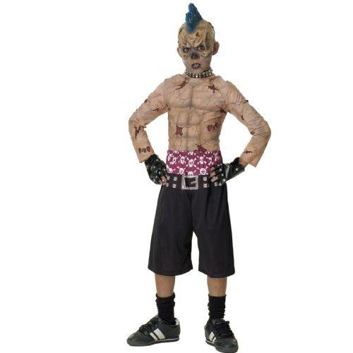 Kostüm Punk Kind Zombie - Zombie Skate-Punk Kostüm. Medium 5-7 Jahre. 3/4 Maske, gespickt Halsband, Hemd, Hose und besetzte Handschuh.