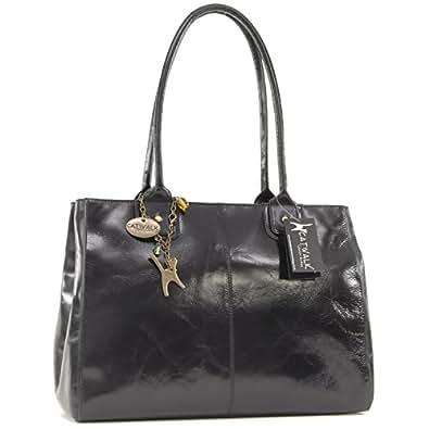 Catwalk Collection Large Shoulder Tote - Kensington - Vintage Leather - Black
