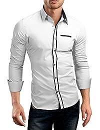 Grin&Bear Slim Fit Shirt Hemd Herrenhemd Doppel Kontrast Knopfleiste, SH546