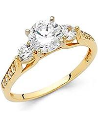 14 K oro amarillo sólido 1,25 quilates tres Zirconia cúbico de corte redondo 3 piedra boda anillo de compromiso con piedras…