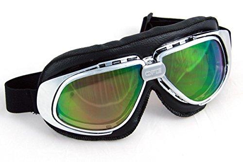 Qubeat Motorradbrille Classic, schwarz mit Rainbow-getönten Gläsern